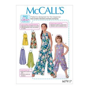 M7917 - Children's and Girl's Romper, Jumpsuit and Belt