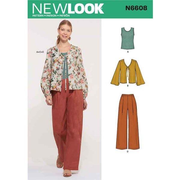 New Look Sewing Pattern N6608 Misses' Jacket, Pants and Top