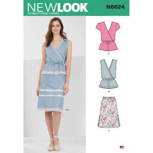 NEW LOOK SEWING PATTERN N6624 MISSES' TOPS AND PULL ON SKIRTS