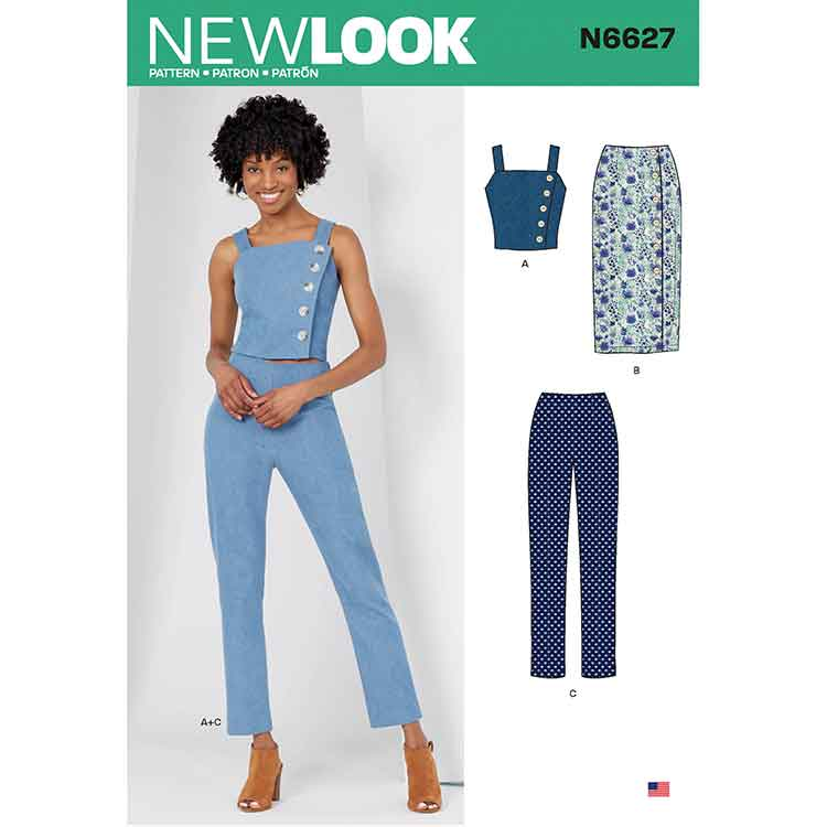 NEW LOOK SEWING PATTERN N6627 MISSES' TOP, SKIRT, AND PANTS