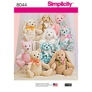 Simplicity 8044, Two-Pattern Piece Stuffed Animals