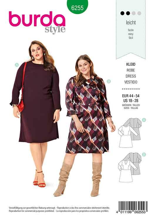 Burda B6255, WOMEN'S PLUS SIZE DRESS WITH FLARED SHIRT, NECKLINE VARIATIONS