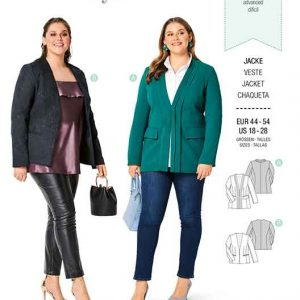 Burda B6258, WOMEN'S PLUS SIZE JACKET WITH HIGH NECKLINE