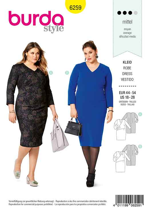 Burda B6259, WOMEN'S PLUS SIZE WRAP DRESS