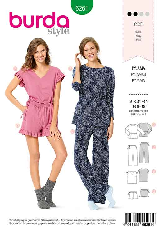 Burda B6261, MISSES'/ WOMEN'S PYJAMAS