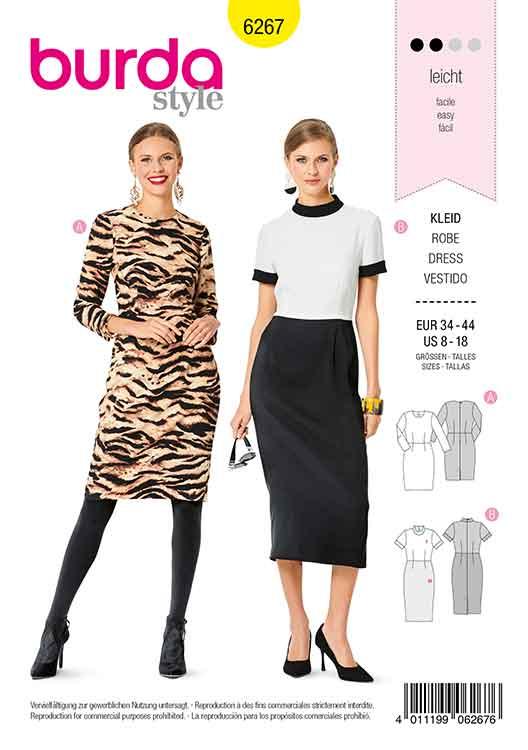 Burda B6267, MISSES' / WOMEN'S SHEATH DRESS WITH 3/4 SLEEVES