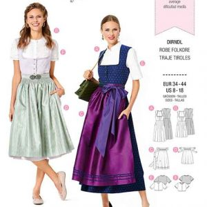 Burda B6269, MISSES' / WOMEN'S DIRNDL SKIRT AND BLOUSE