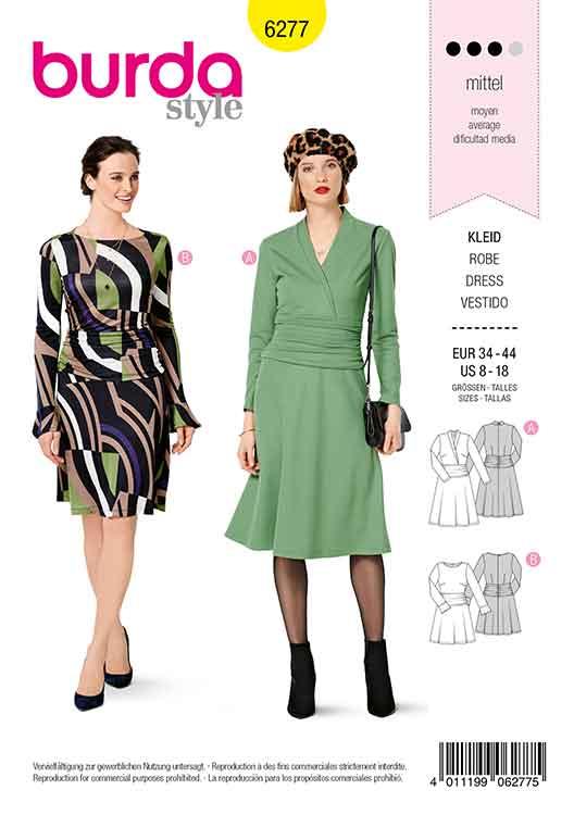 Burda B6277, MISSES' / WOMEN'S JERSEY DRESS WITH BELL SKIRT