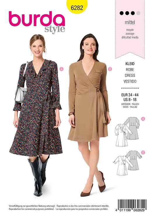 Burda B6282, MISSES' / WOMEN'S WRAP DRESS