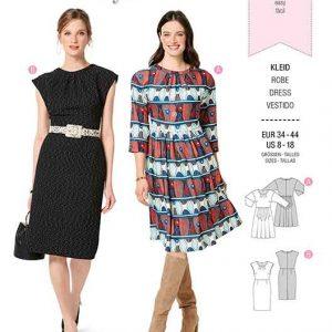 Burda B6288, MISSES' / WOMEN'S DRESS WITH WIDE SKIRT AND PLEATS