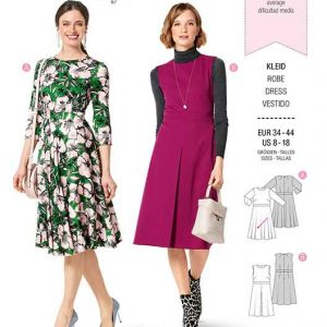 BURDA 6297  MISSE'S / WOMEN'S DRESS WITH WAIST BAND AND ATTACHED SKIRT AND 3/4 SLEEVES