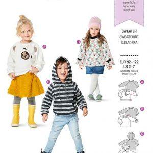 BURDA 9308 CHILD'S SWEATSHIRT/HOODIE