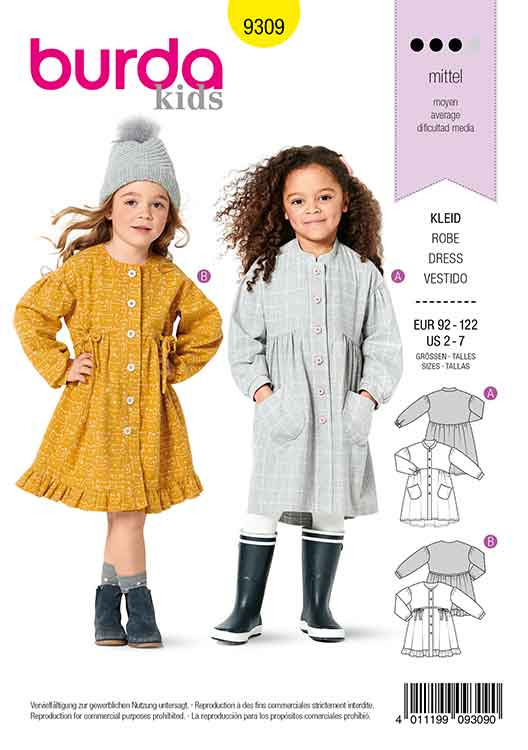 BURDA 9309 CHILD'S DRESS WITH BUTTON FASTENING