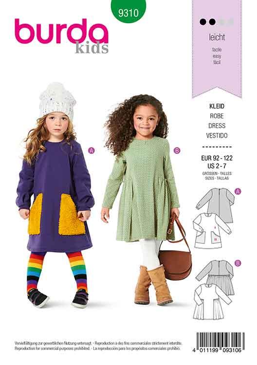 BURDA 9310 CHILD'S DRESS WITH POCKETS