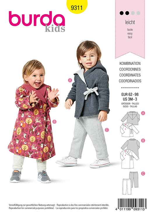 BURDA 9311 TODDLER'S HOODED JACKET AND PULL ON PANTS