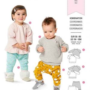 BURDA 9312 BABY TOP WITH SNAP FASTENING AND PULL ON PANTS