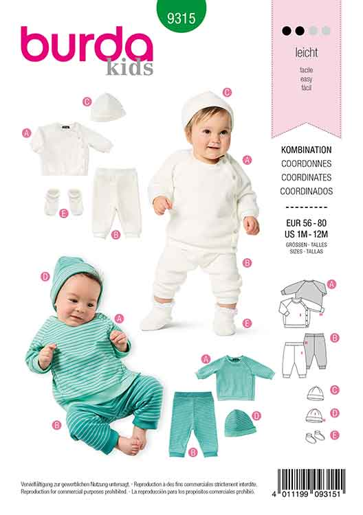 BURDA 9315 BABY SPORTSWEAR. SWEAT JACKET WITH PULL ON PANTS, INCLUDES HAT AND BOOTIES