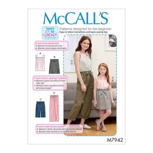 M7942 Misses', Children's and Girls' Top, Skirt, Shorts and Pants