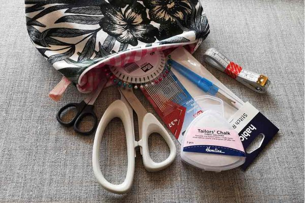 starter sewing pouch containing essential tools