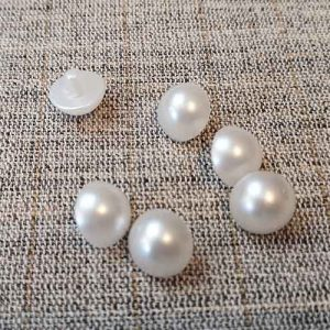Domed white pearly shank buttons (13mm)