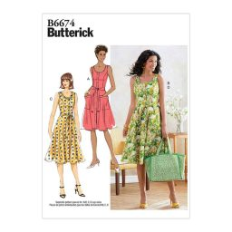 B6674 Misses' Dress, Sash and Bag