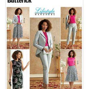 B6718 Misses' Jacket, Dress, Top, Skirt, & Pants
