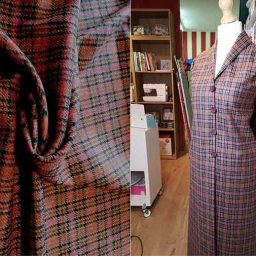 Cerise/tan wool tweed
