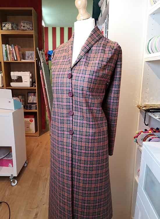 Cerise/tan wool tweed