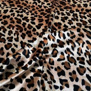Leopard print stretch velvet