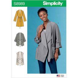S8989 Misses' Jacket, Coat and Vest