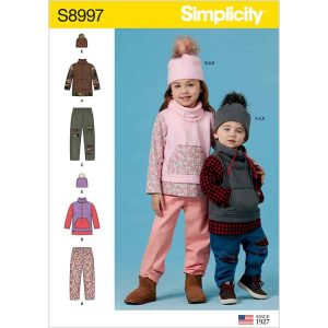S8997 Toddlers' and Children's Pants, Knit Top and Hat