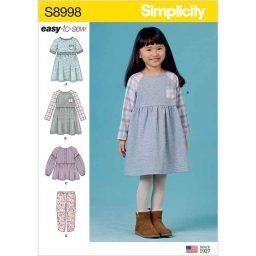 S8998 Children's Easy-To-Sew Sportswear Dress, Top, Pants