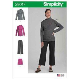 S9017 Misses' Knit Tops, Pants & Skirt