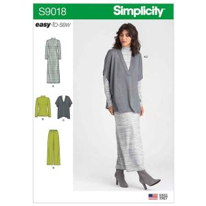 S9018 Misses' Pants, Knit Vest, Dress or Top