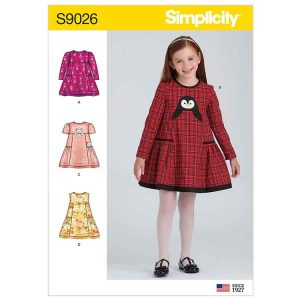 S9026 Children's Animal Applique Pocket Dress