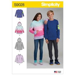 S9028 Girls' & Boys' Knot Tops with Hoodie