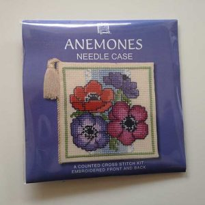 """Anemones"" needlecase cross-stitch embroidery kit"