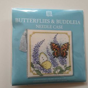 """Butterflies & Buddleia"" needlecase cross-stitch embroidery kit"