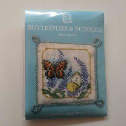 """""""Butterflies & Buddleia"""" pin cushion cross-stitch embroidery kit"""