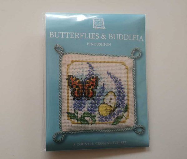 """Butterflies & Buddleia"" pin cushion cross-stitch embroidery kit"