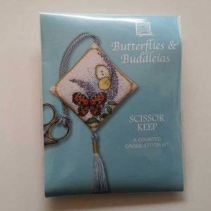 """Butterflies & Buddleia"" scissor keep cross-stitch embroidery kit"