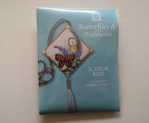 """Butterflies & Buddleia"" scissor keep cross-stitch embroidery kit"