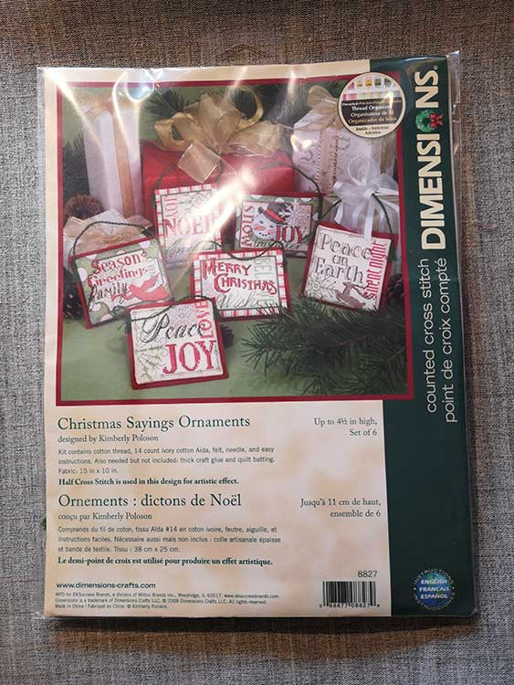 """""""6 Christmas Sayings"""" counted cross-stitch ornaments Counted Cross Stitch: Ornament: Xmas Sayings: 6"""