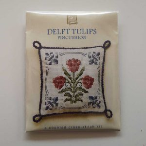 """Delft Tulip"" pin cushion cross-stitch embroidery kit"