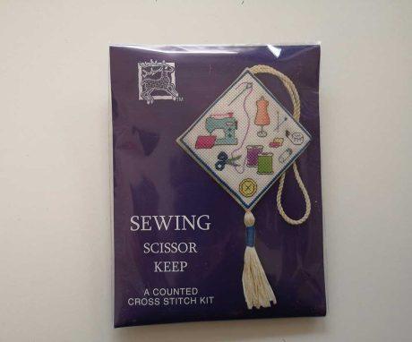 """Sewing"" scissor keep cross-stitch embroidery kit"