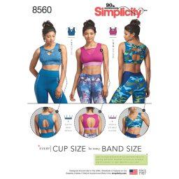 Simplicity Pattern 8560 Women's' Knit Sports Bras