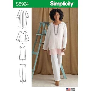 S8924 Misses' Jacket, Top, Tunic, and Pull-On Pants