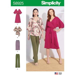 S8925 Misses' Knit Pants, Skirt, Wrap Dress and Wrap Top