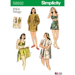 S8932 Misses' Vintage Bikini Top, Shorts, Wrap, Skirt and Coat
