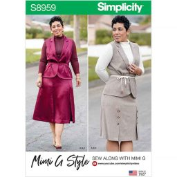 S8959 Misses' and Women's Top, Skirt, and Vest